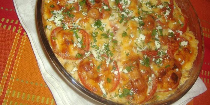 Запеканка с фаршем картофелем и помидорами с пошаговым