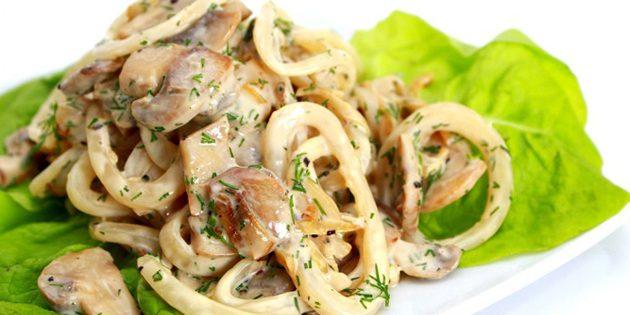 Рецепты салатов с грибами и кальмаром